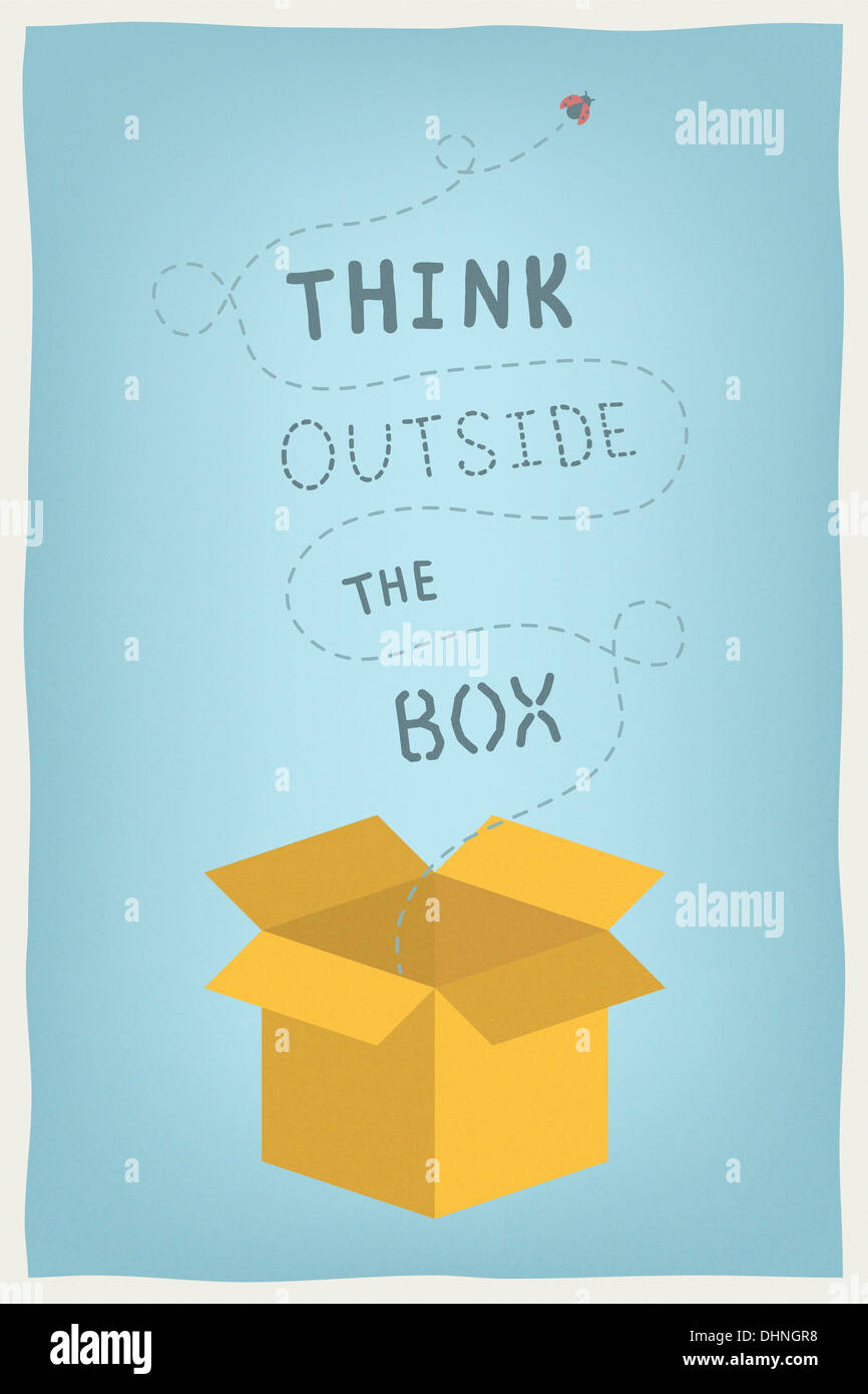 Concept illustration moderne de la motivation et de la pensée positive et l'esprit créatif avec dessinés à la main, pensez à l'extérieur de la boîte de texte Photo Stock