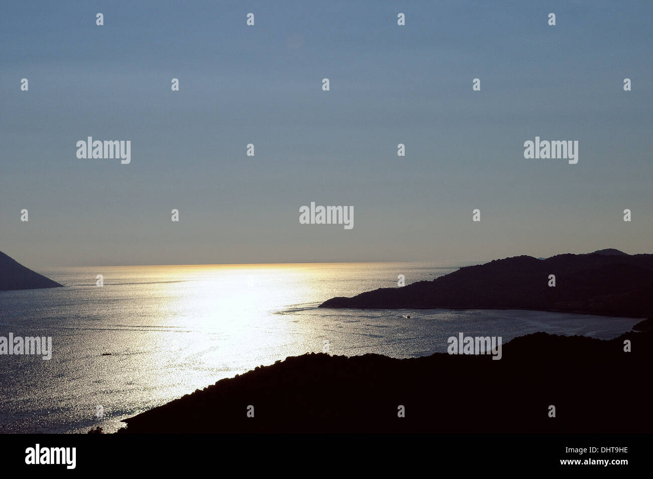 Soirée sur la mer Egée Photo Stock