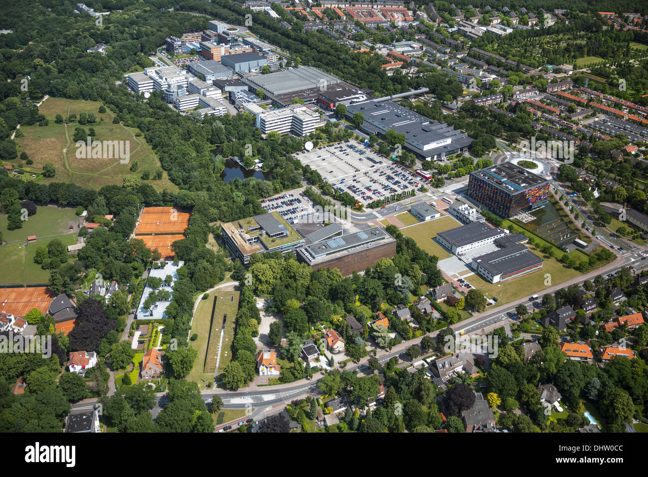 Pays-bas, Hilversum, zone pour cross media appelé Mediapark. Aerial Photo Stock