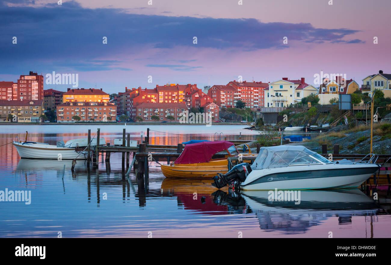 Bateaux de plaisance amarrés à Karlskrona, Suède Photo Stock
