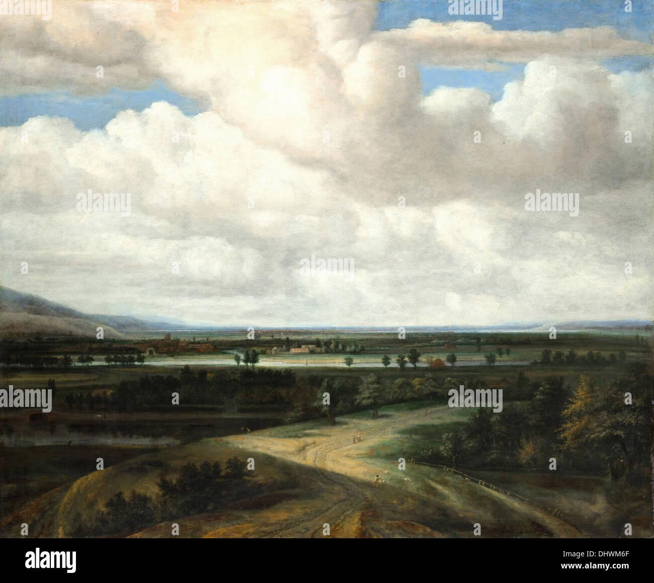 Un paysage panoramique avec un domaine - par Philips Koninck, 1649 Photo Stock