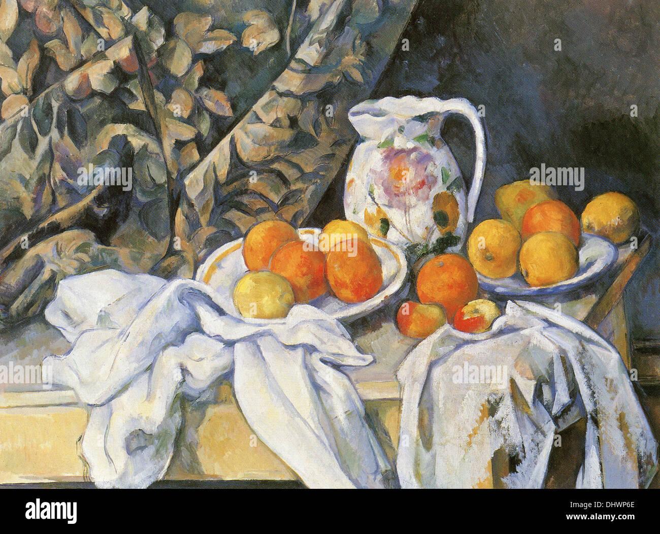 La vie toujours avec des tentures - par Paul Cezanne, 1895 Photo Stock