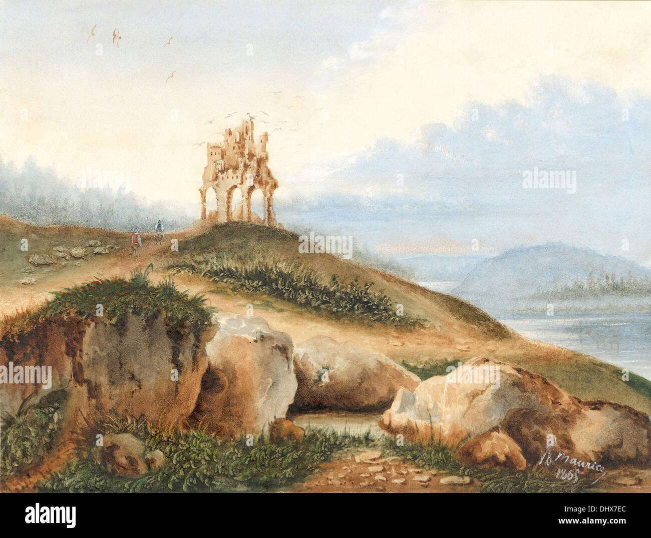 Paysage avec un château fantastique - par George Sand, 1865 Photo Stock