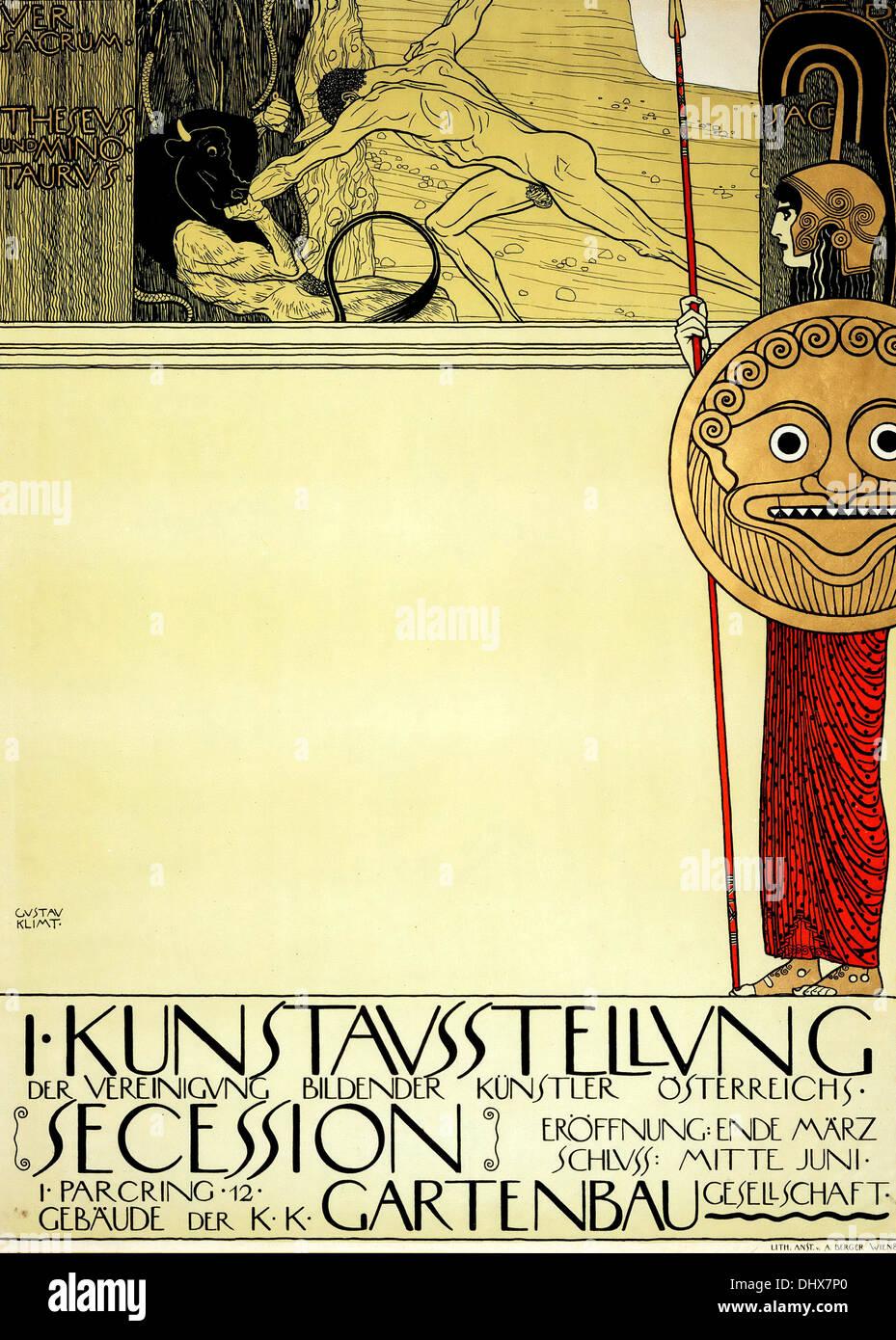 Affiche pour la 1ère exposition de sécession - Gustav Klimt, 1898 - éditorial uniquement. Photo Stock