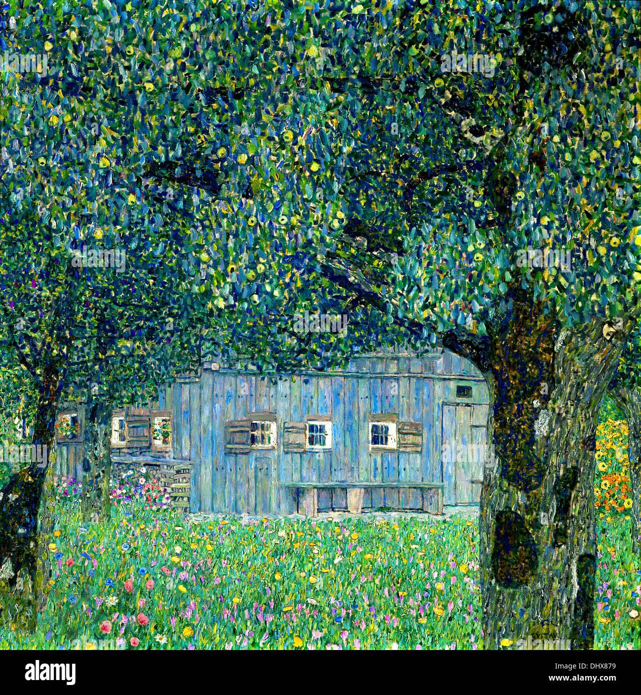 Maison de campagne sur le lac Attersee, Autriche - par Gustav Klimt, 1914 Photo Stock