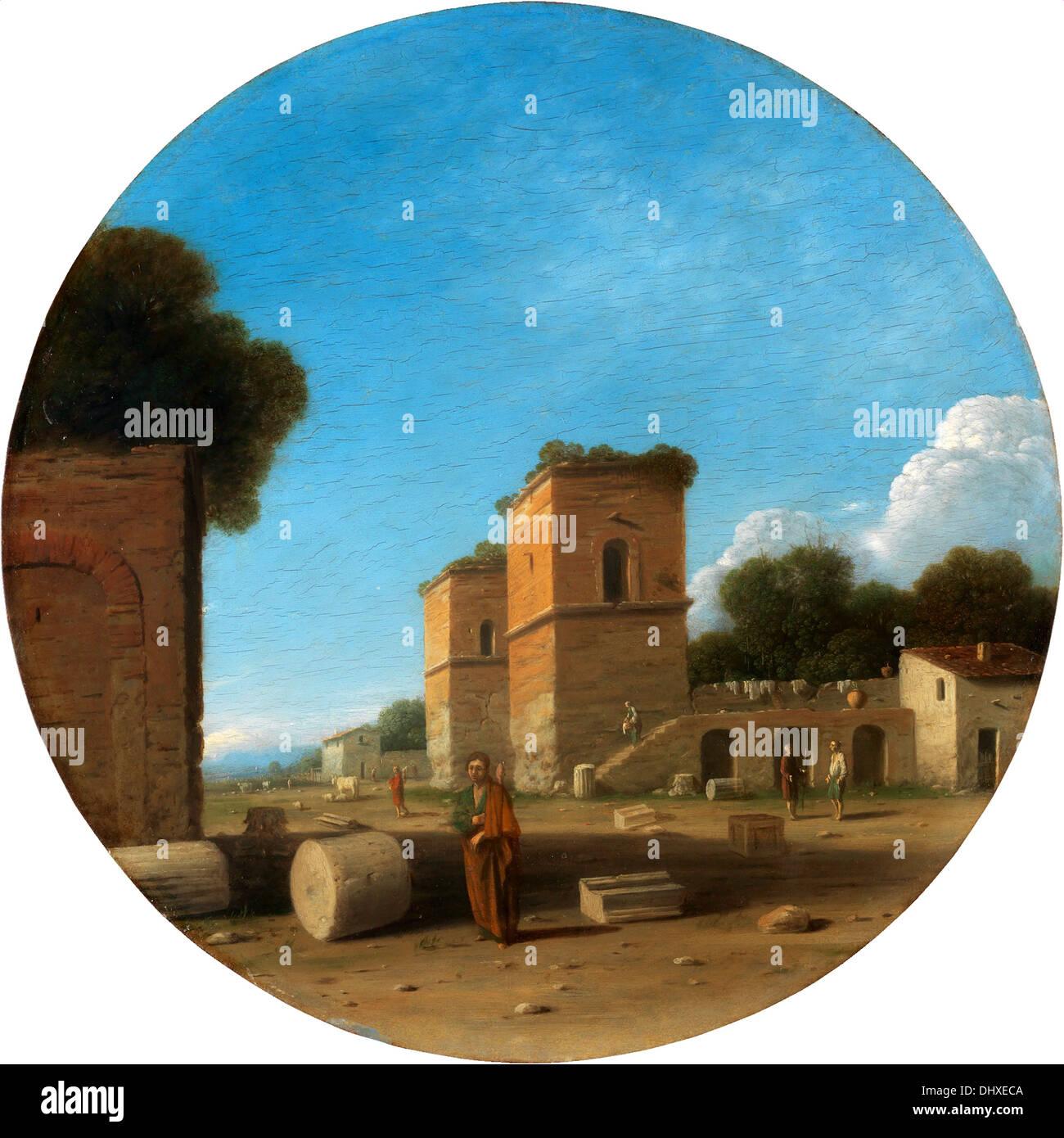 Un paysage romain avec des chiffres - par Goffredo Wal, années 1630 Photo Stock