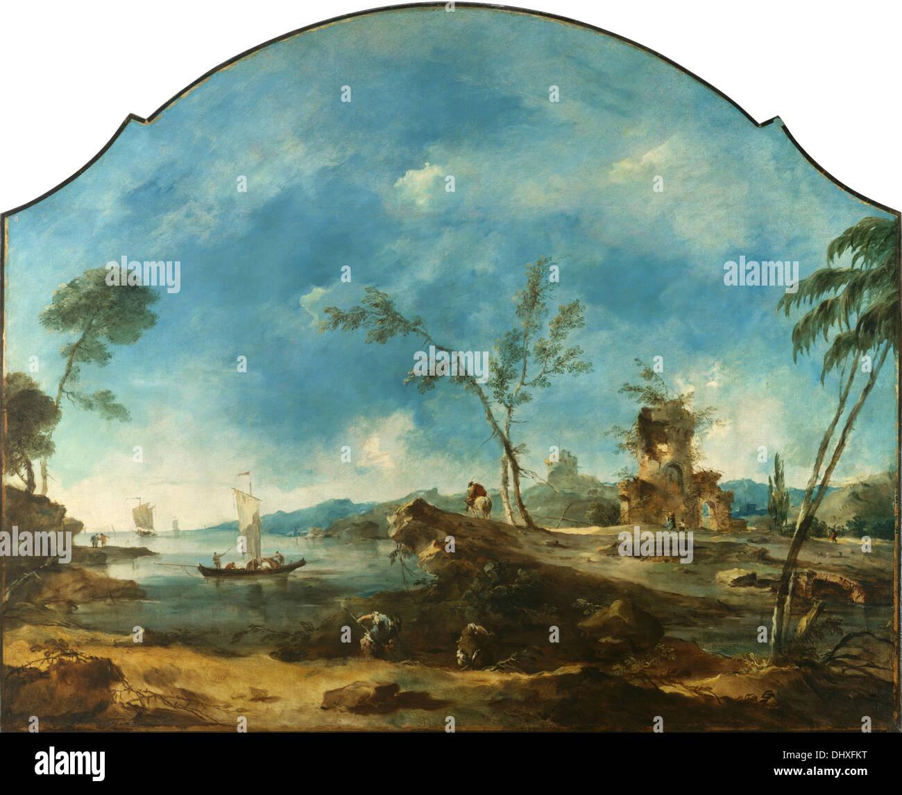Paysage fantastique - par Francesco Guardi, 1765 Photo Stock