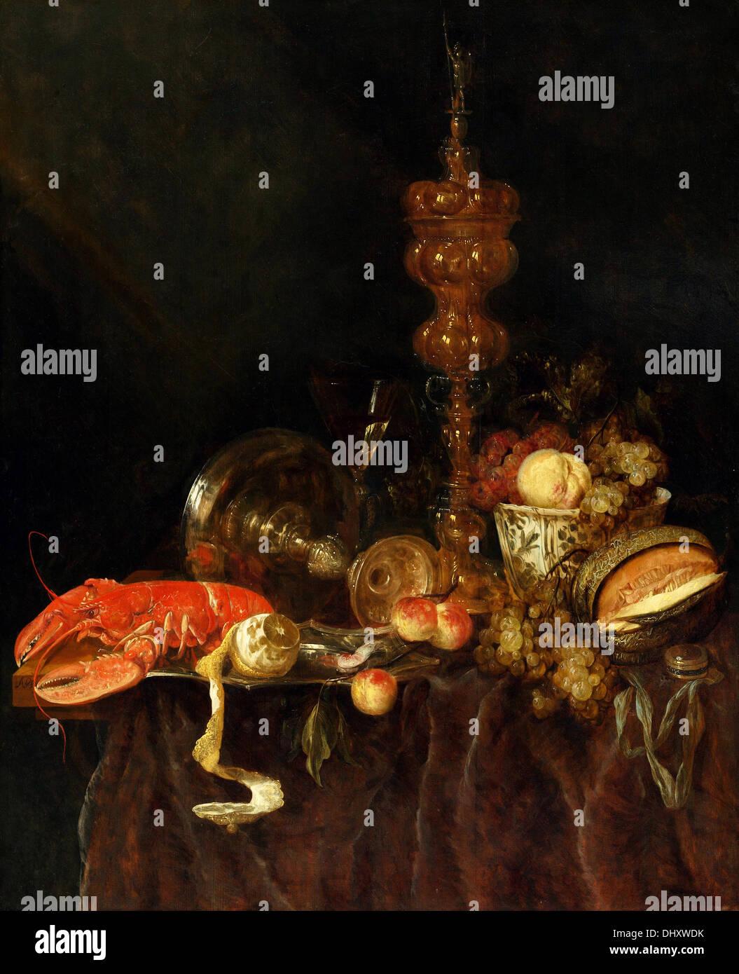 Nature morte au homard et fruits - par Abraham van Beyeren, années 1650 Photo Stock
