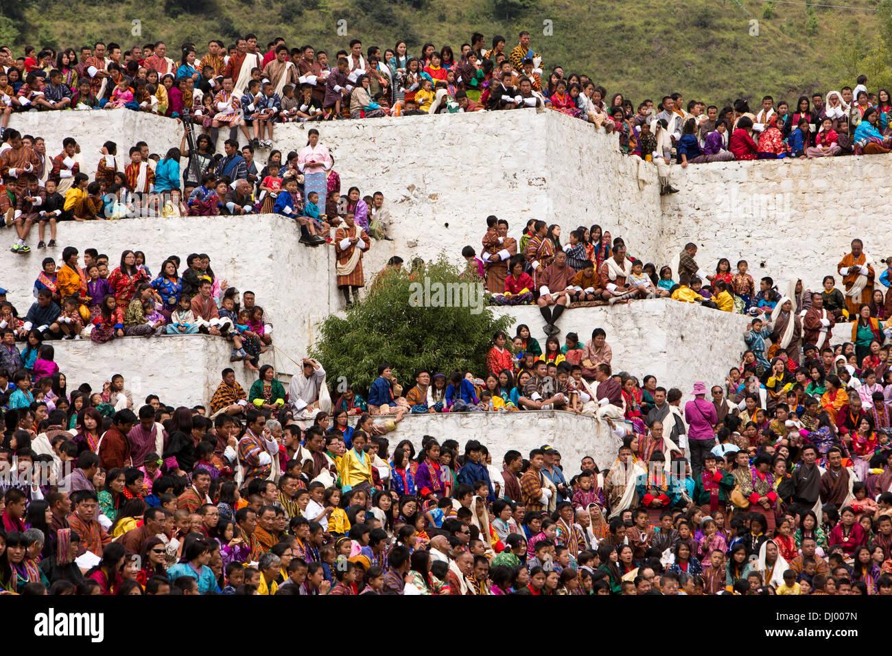 Le Bhoutan, Thimphu Dzong, Tsechu festival annuel, tous les points de remplissage de l'auditoire Photo Stock
