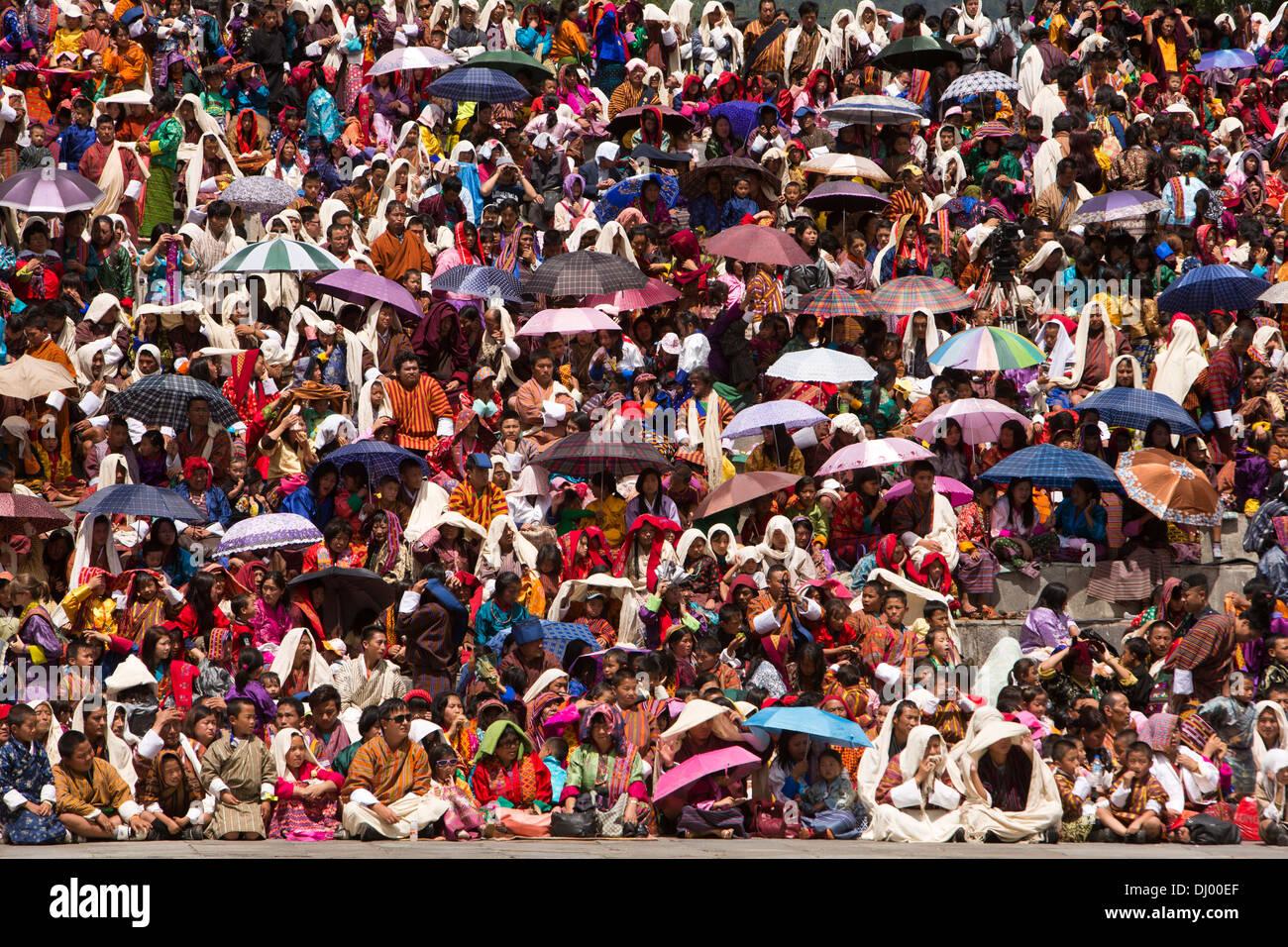 Le Bhoutan, Thimphu Dzong, Tsechu festival annuel, à l'abri de l'auditoire de Sun Photo Stock