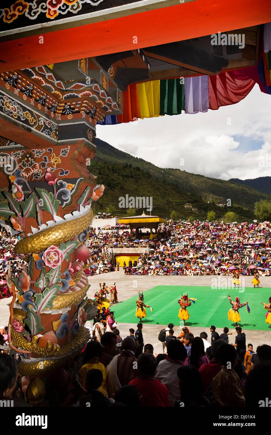 Le Bhoutan, Thimphu Dzong, Tsechu annuel richement décoré, peint l'abbé balcon Photo Stock