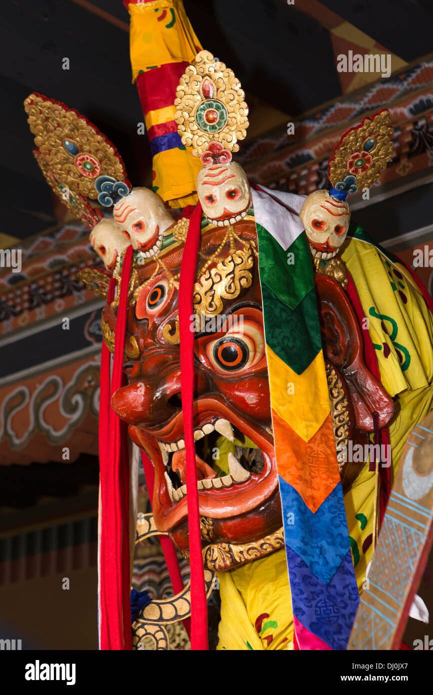 Le Bhoutan, Thimphu Dzong, Tsechu annuel, masque de visage de Shinje Chhogyel le seigneur de la mort Photo Stock