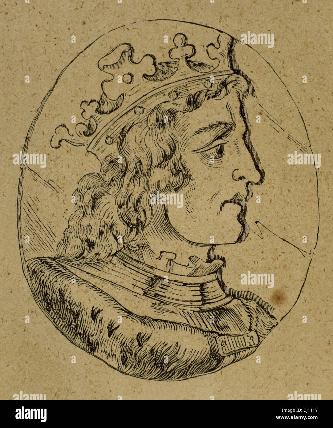 Ramiro III (961-985), roi de León (966-984). La gravure. Photo Stock