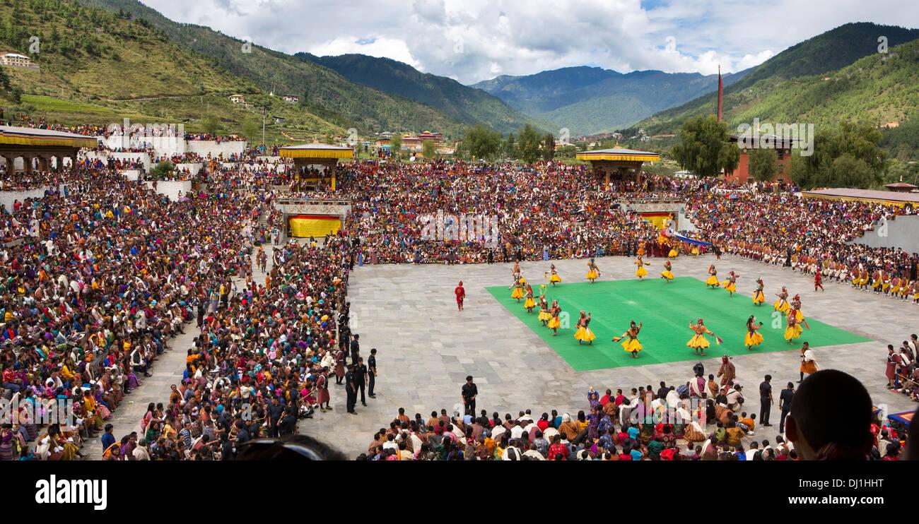 Le Bhoutan, Thimphu Dzong, Tsechu annuel Raksha Mangcham avec danse, seigneur de la mort Photo Stock