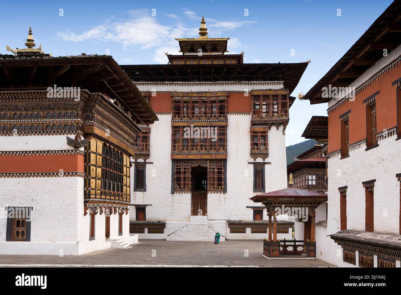 Le Bhoutan, Thimphu Dzong, salle de prière à l'intérieur de la cour du monastère Photo Stock