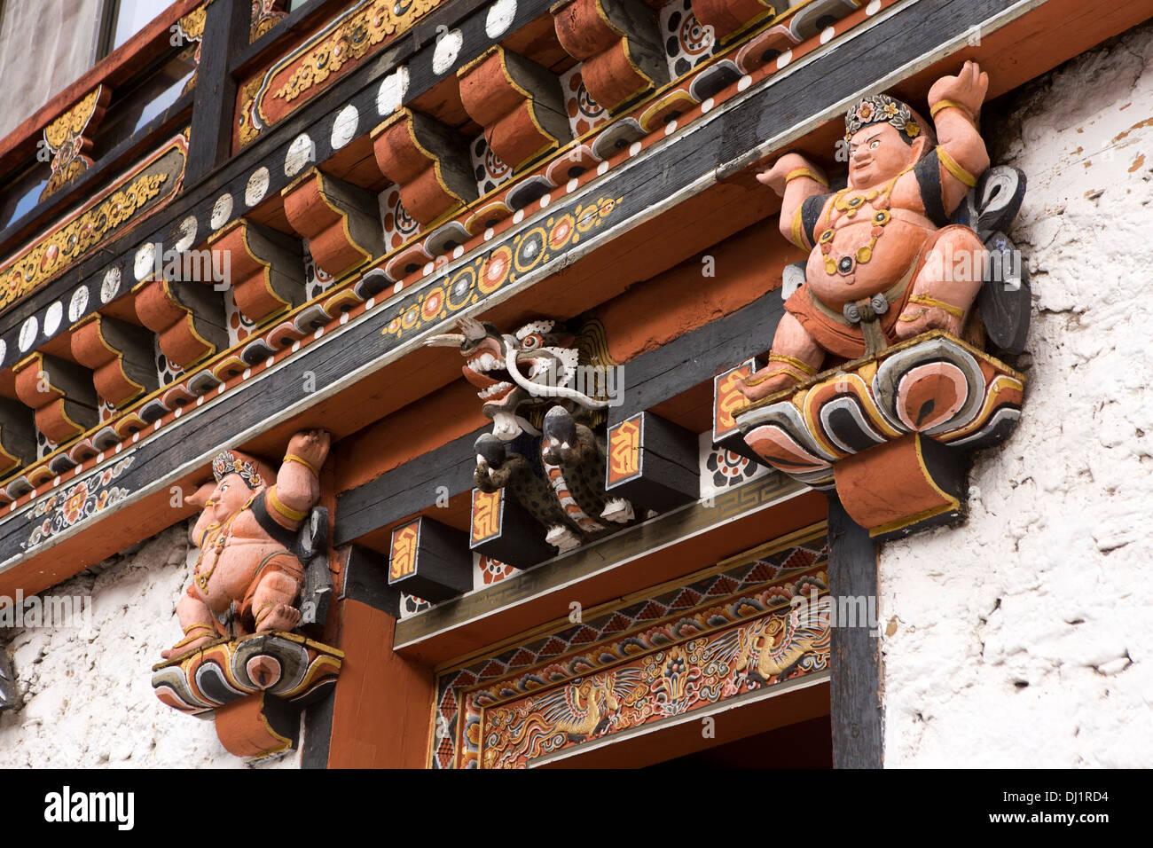 Le Bhoutan, Thimphu Dzong, détail de la porte en bois peint décoration structure Photo Stock