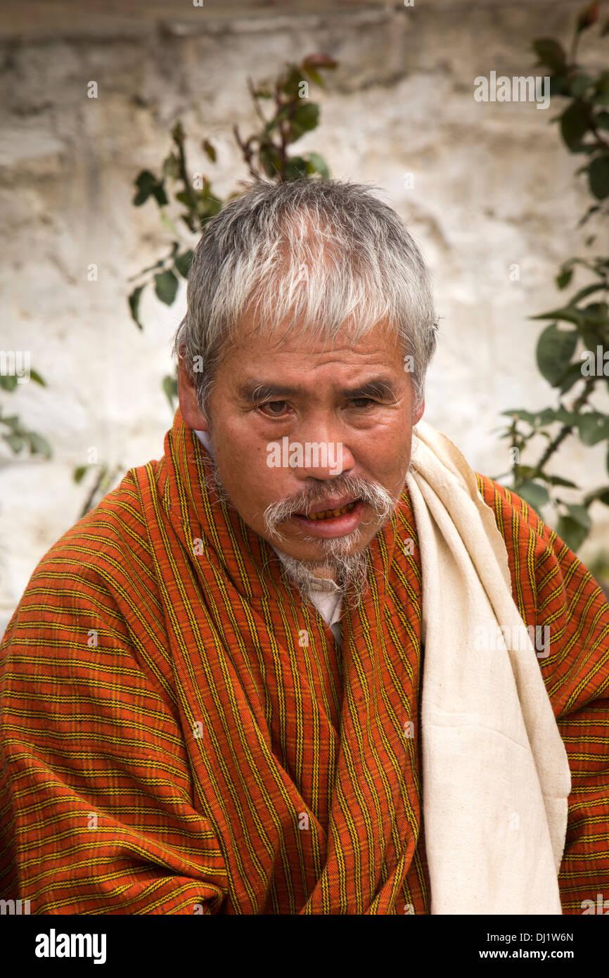 Le Bhoutan, Thimphu Dzong, Tsechu annuel, vieil homme à barbe bouc en audience Photo Stock