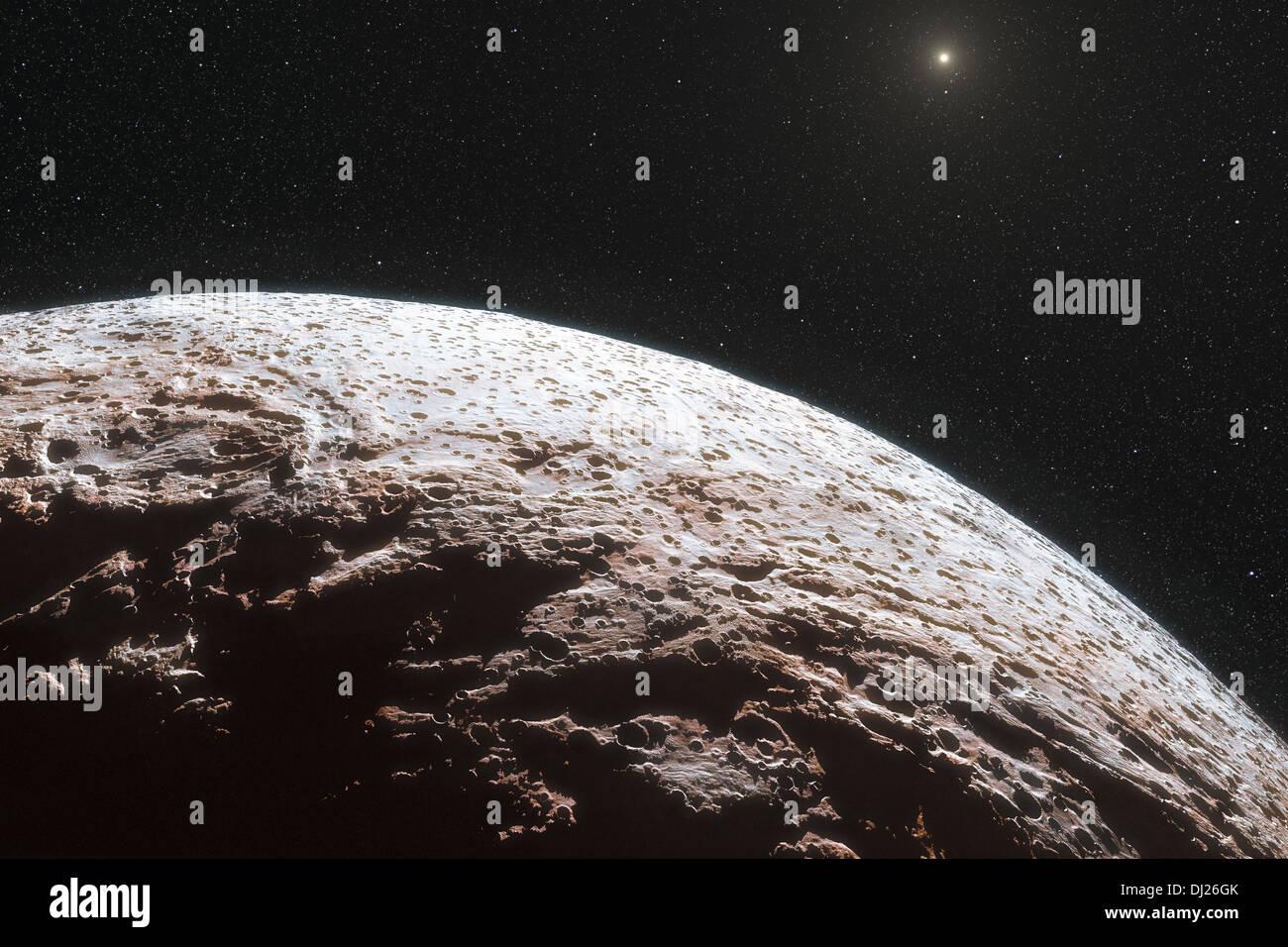 Cette vue d'artiste montre la surface de la lointaine planète naine Makemake. C'est environ les deux tiers de la taille de Pluton Photo Stock