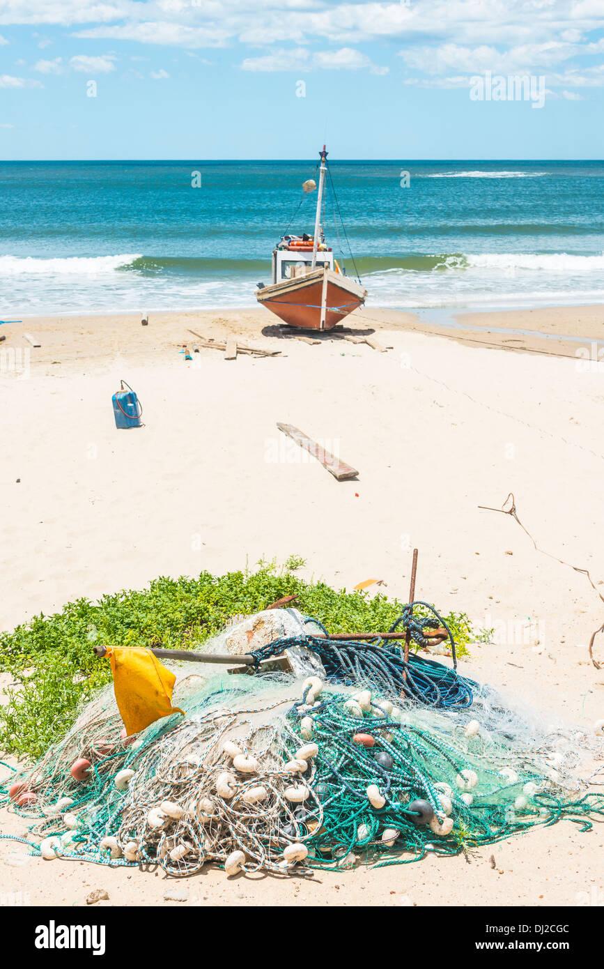 La plage de Punta del Diablo, lieu touristique populaire et Fisherman's place dans la Côte d'Uruguay Photo Stock