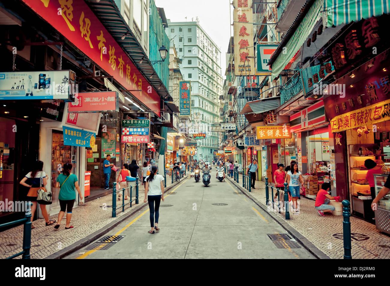 Vue sur rue du centre-ville de Macao, Chine Photo Stock