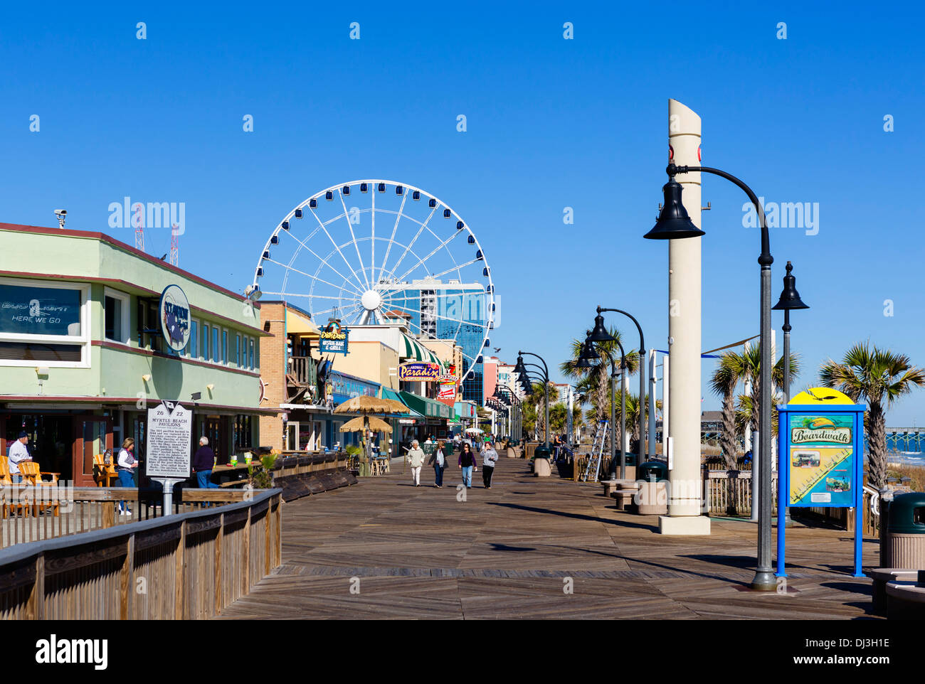 Myrtle Beach Boardwalk sur une calme hors saison journée d'automne, Myrtle Beach, Caroline du Sud, USA Photo Stock