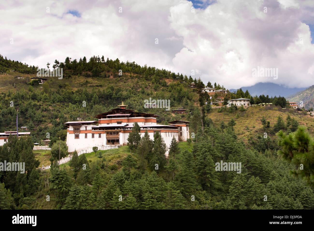 Le Bhoutan, Simtokha Dzong de colline à l'extérieur du monastère historique Thimpu Photo Stock