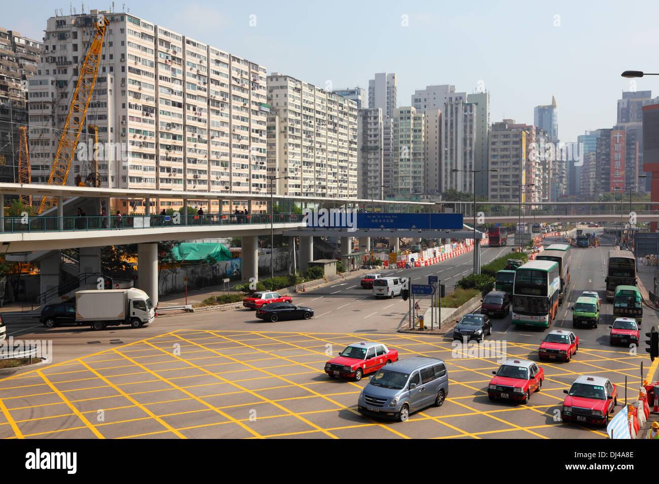 Carrefour dans la ville de Hong Kong, Chine Photo Stock