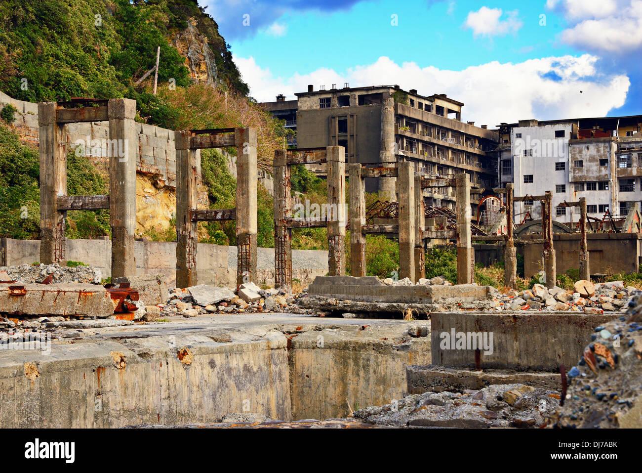 L'île de Gunkanjima industriels abandonnés, Nagasaki, Japon. Photo Stock