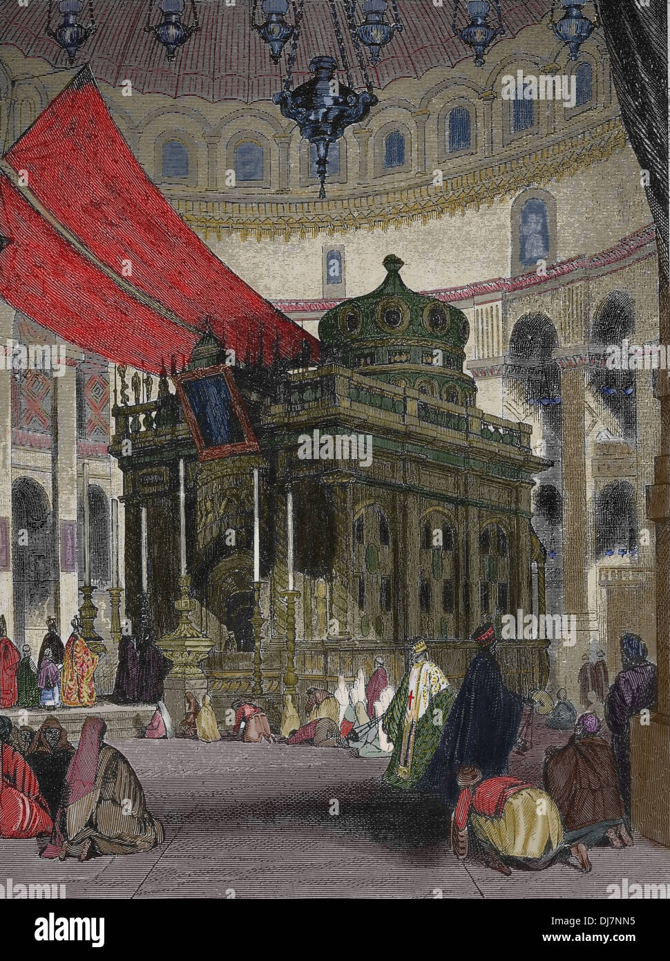Église du Saint-Sépulcre à Jérusalem. Sainte Chapelle. La gravure. (Plus tard.) Photo Stock