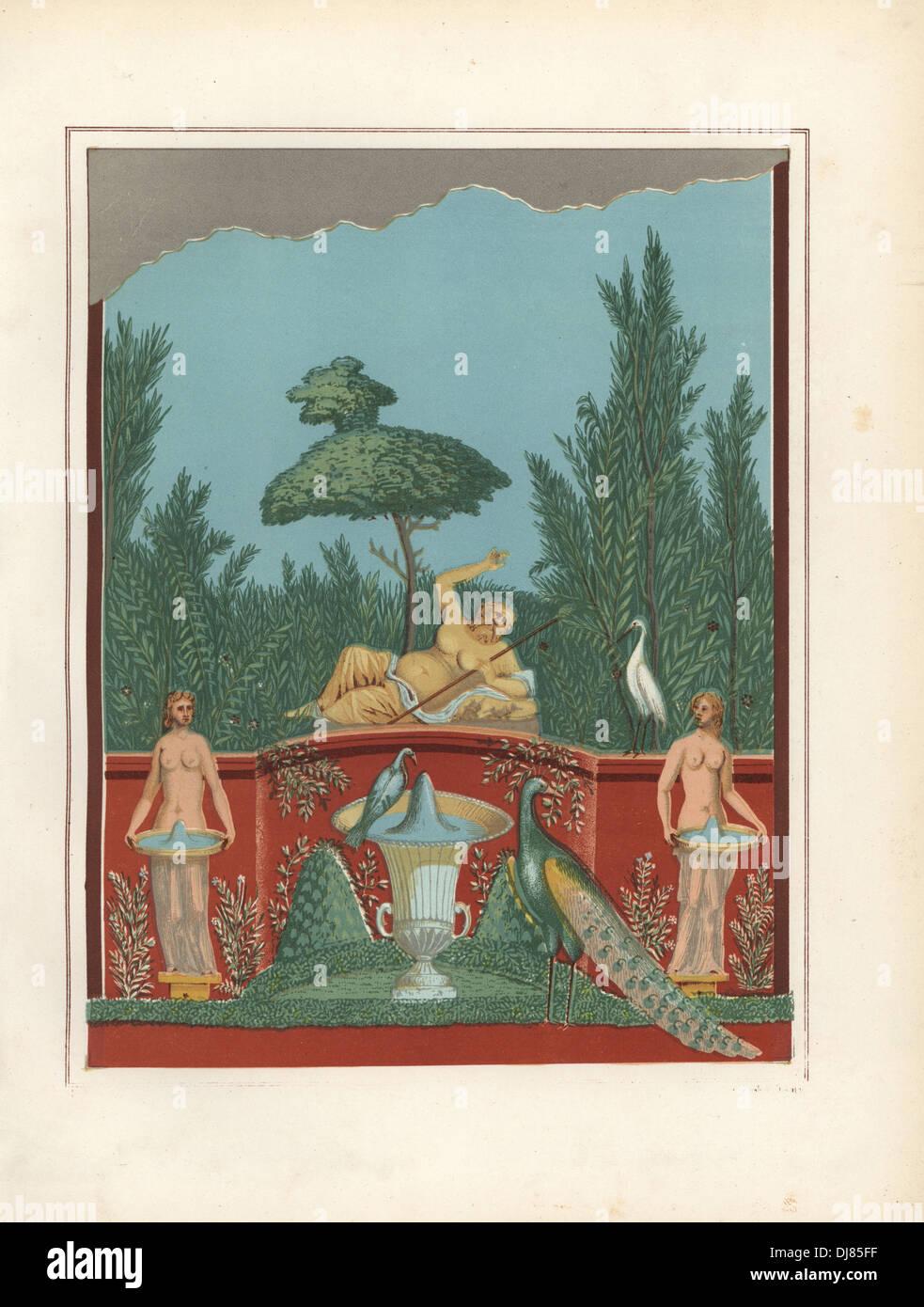 Peinture Murale De Bacchus à Partir D Un Mur De Jardin Dans