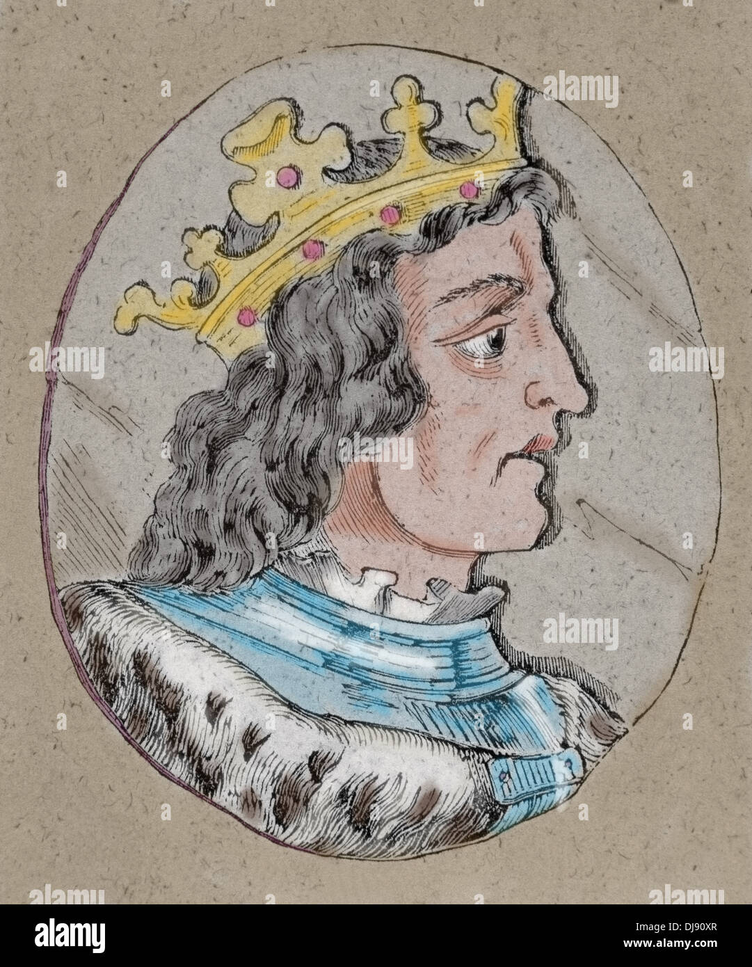 Ramiro III (961-985), roi de León (966-984). La gravure.. De couleur. Photo Stock