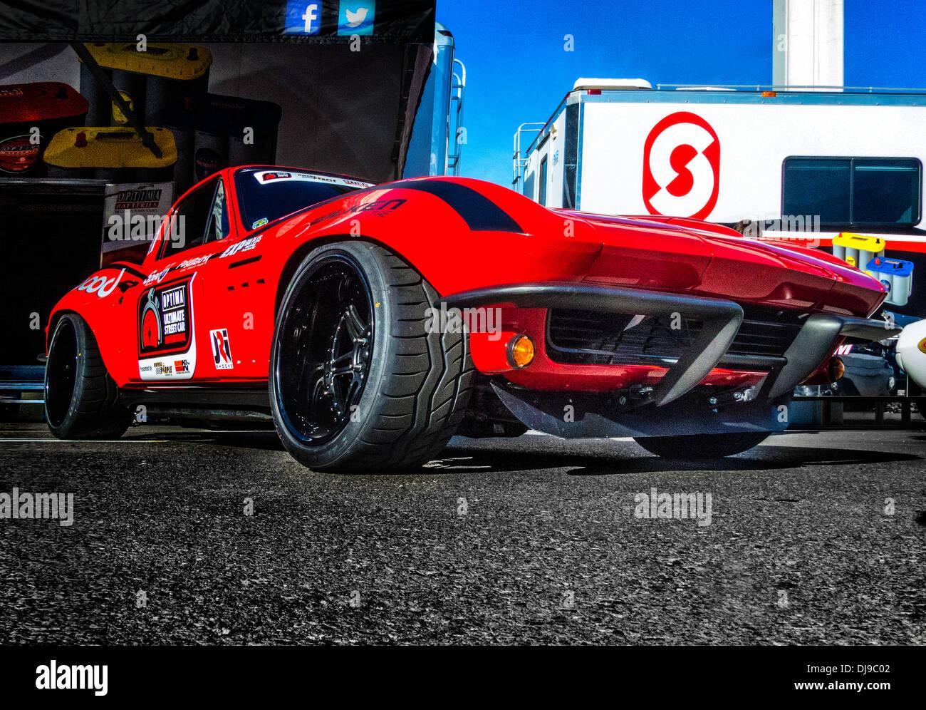 Un défi batterie Exide Corvette au SEMA Show 2013 à Las Vegas Banque D'Images
