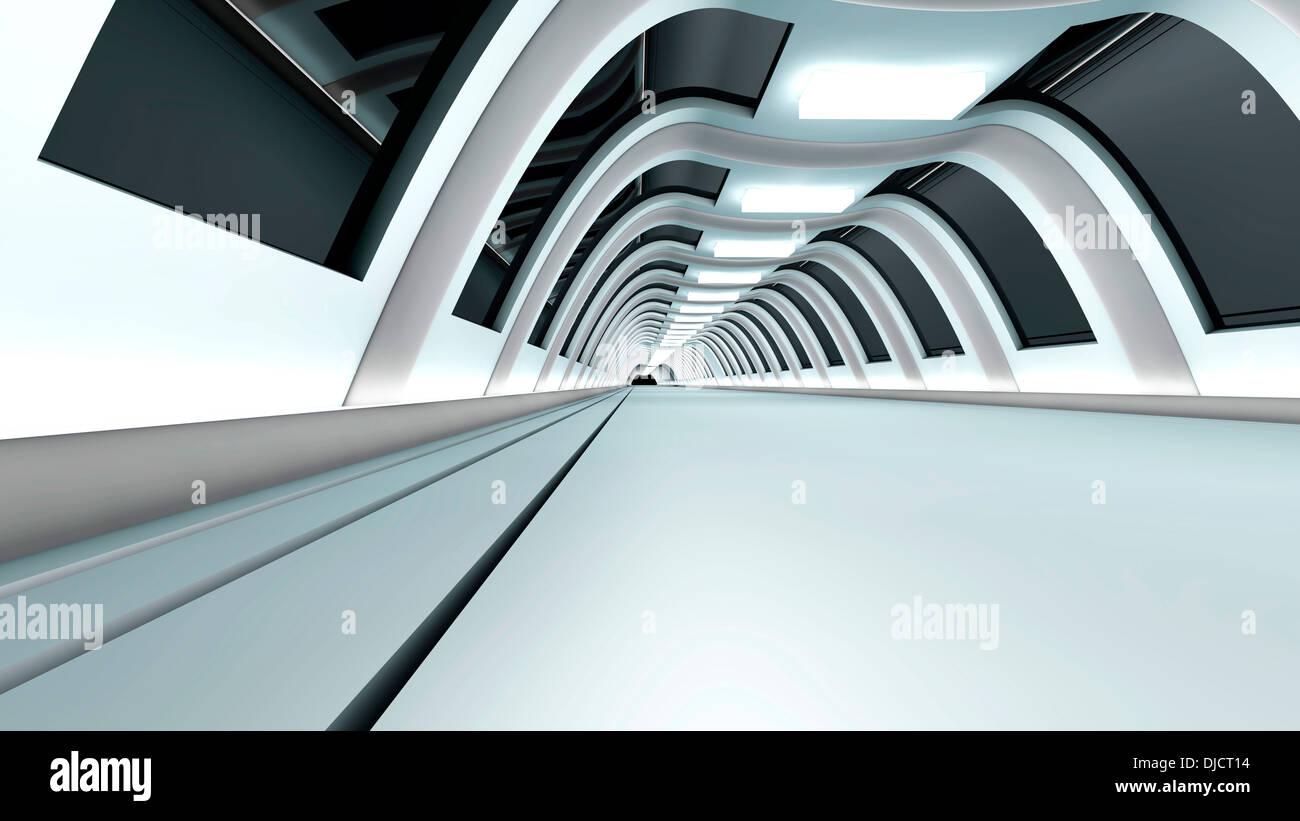 La visualisation de l'architecture d'un couloir vide, 3D Rendering Photo Stock