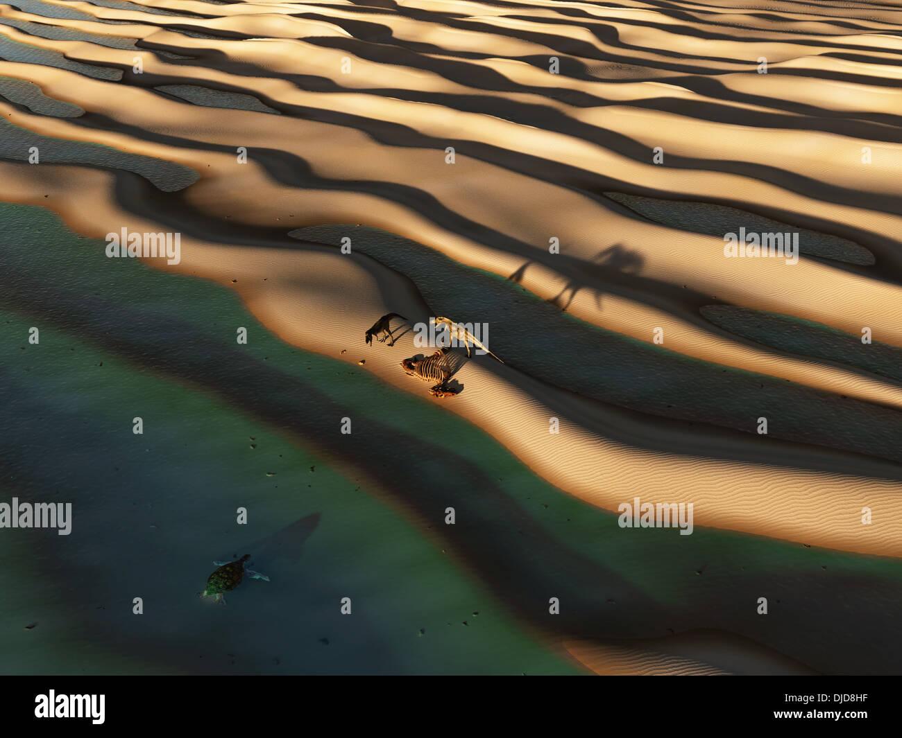 Les dinosaures rôder la plage déserte Banque D'Images