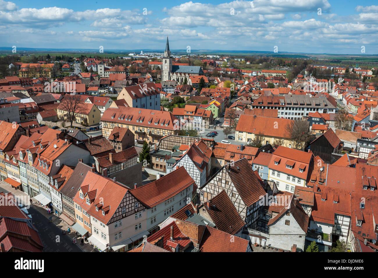 Centre historique de Bad Langensalza, Thuringe, Allemagne Photo Stock