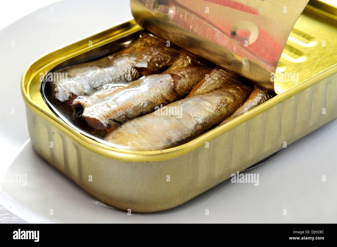 Libre d'un peut de sardines dans un plat Photo Stock