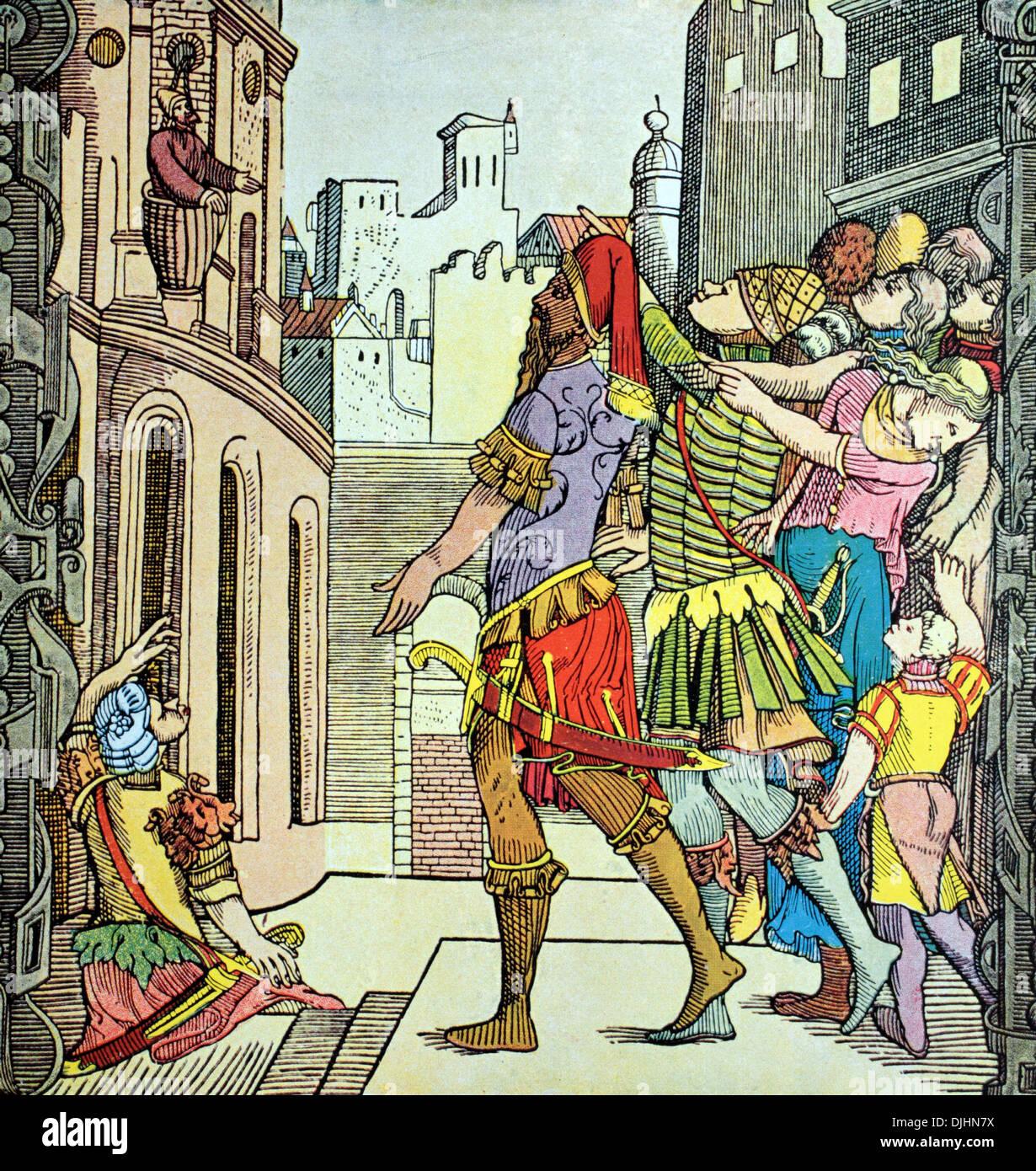 Virgil's Adventures, gravure sur bois du 16ème siècle par Virgil Solis, également connu sous le nom de Virgil Solis Photo Stock