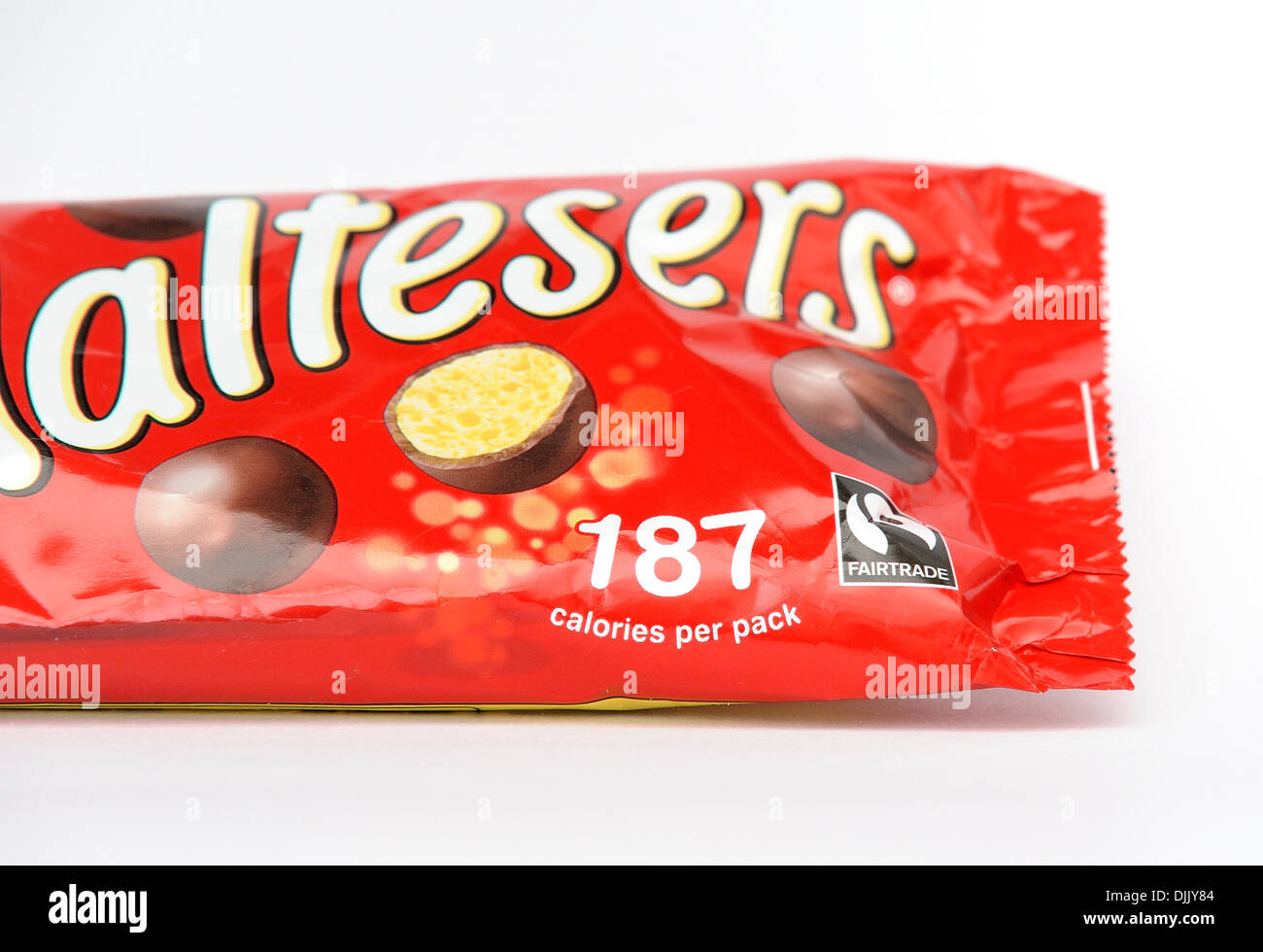 Paquet de maltesers Fairtrade 187 calories par paquet Photo Stock
