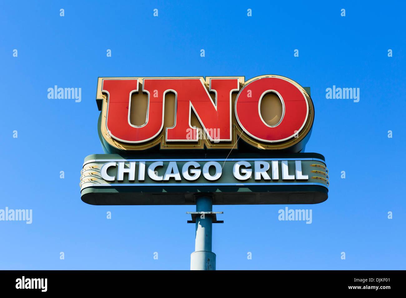 Uno Chicago grill restaurant sign, Central Florida, USA Photo Stock