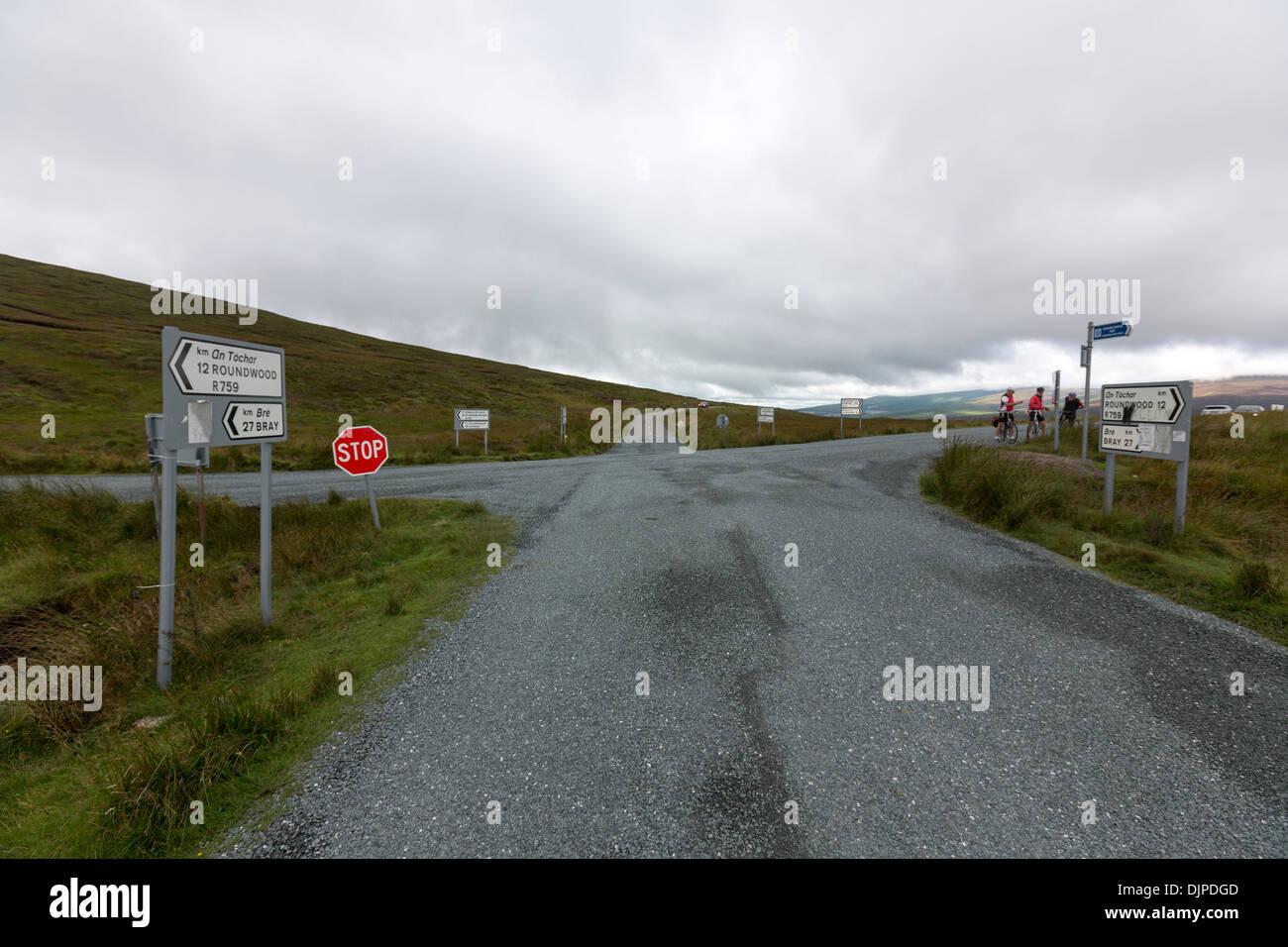Carrefour de Parc National des Montagnes de Wicklow, en Irlande. Photo Stock