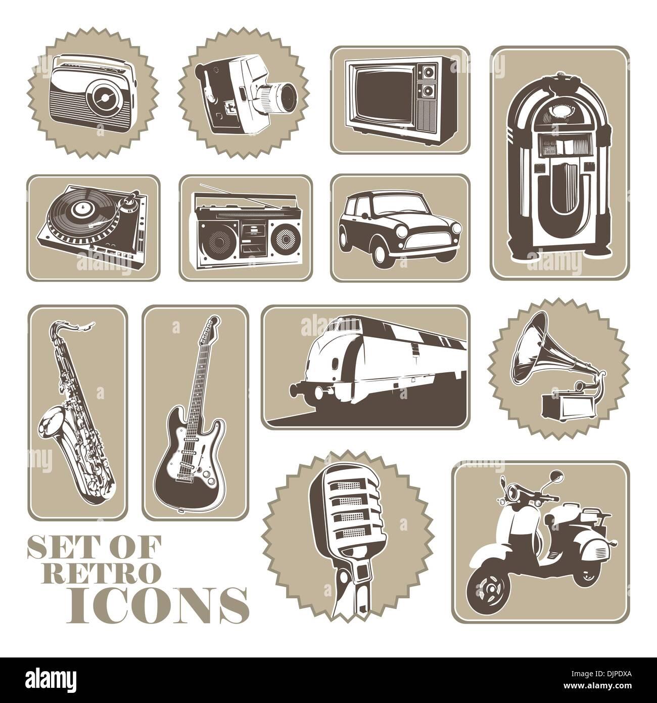 Ensemble de différentes icônes rétro Illustration de Vecteur