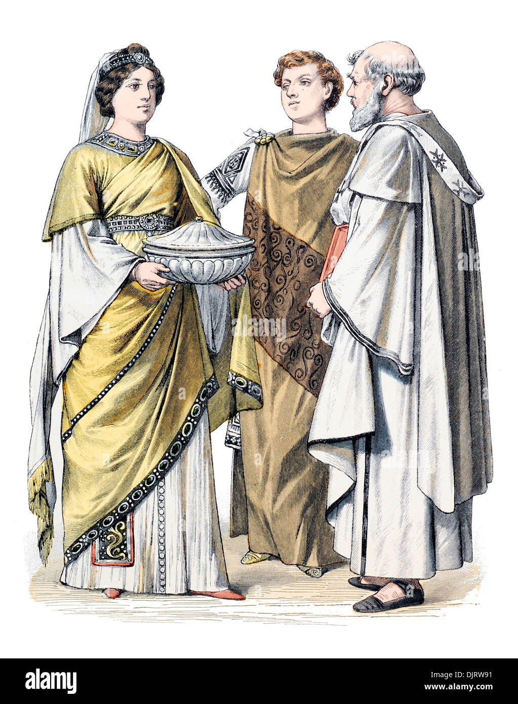 6ème siècle VI 500s'Empire romain de Byzance et Dame prêtre chrétien Photo Stock