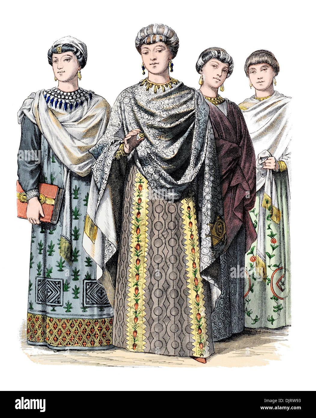 6ème siècle VI 500s Byzance est de l'Empire romain, l'impératrice Théodora et les courtisanes Banque D'Images