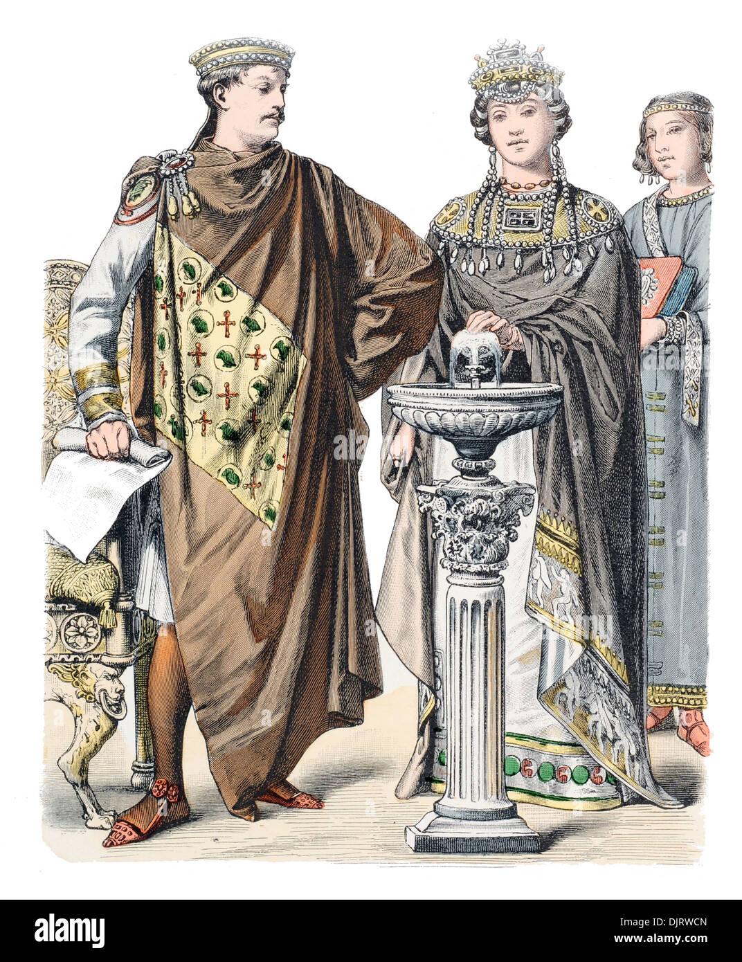 6ème siècle VI 500s Byzance est de l'Empire romain, l'empereur Justinien avec l'impératrice Théodora Photo Stock