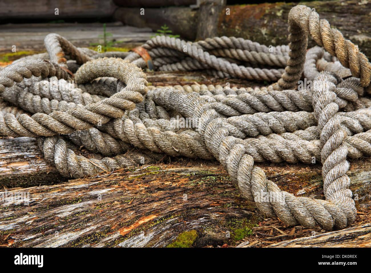 Vintage corde au Musée des bûcherons du parc Algonquin, Algonquin Provincial Park, Ontario, Canada Photo Stock