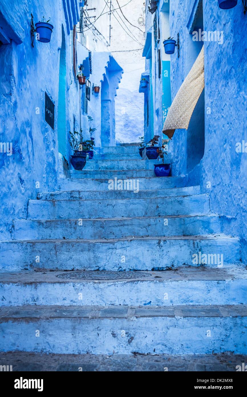 La belle bleue médina de Chefchaouen au Maroc Photo Stock