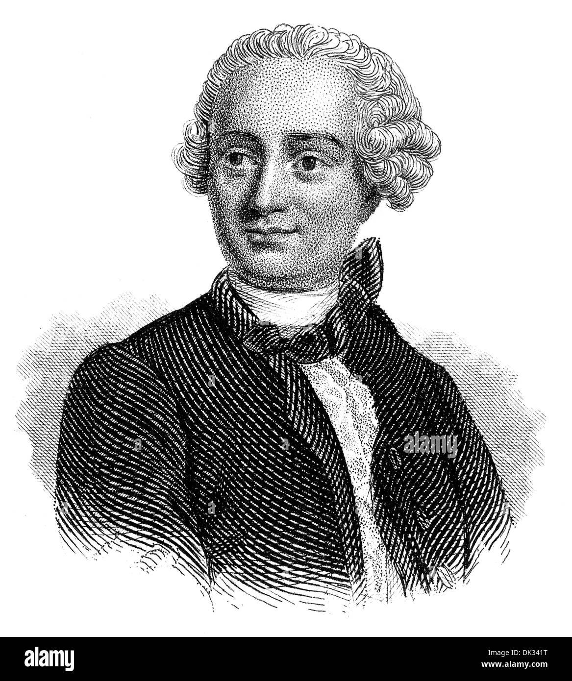 Jean-Baptiste le Rond D'Alembert, ou, 1717 - 1783, un mathématicien, physicien, philosophe des Lumières, et l'éditeur, Banque D'Images