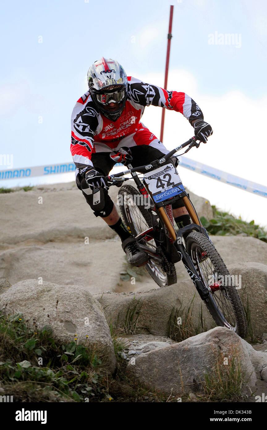 Vtt Downhill Racer Steve Peat prend part à la Coupe du Monde de vélo de montagne UCI, Fort William en 2013. Banque D'Images