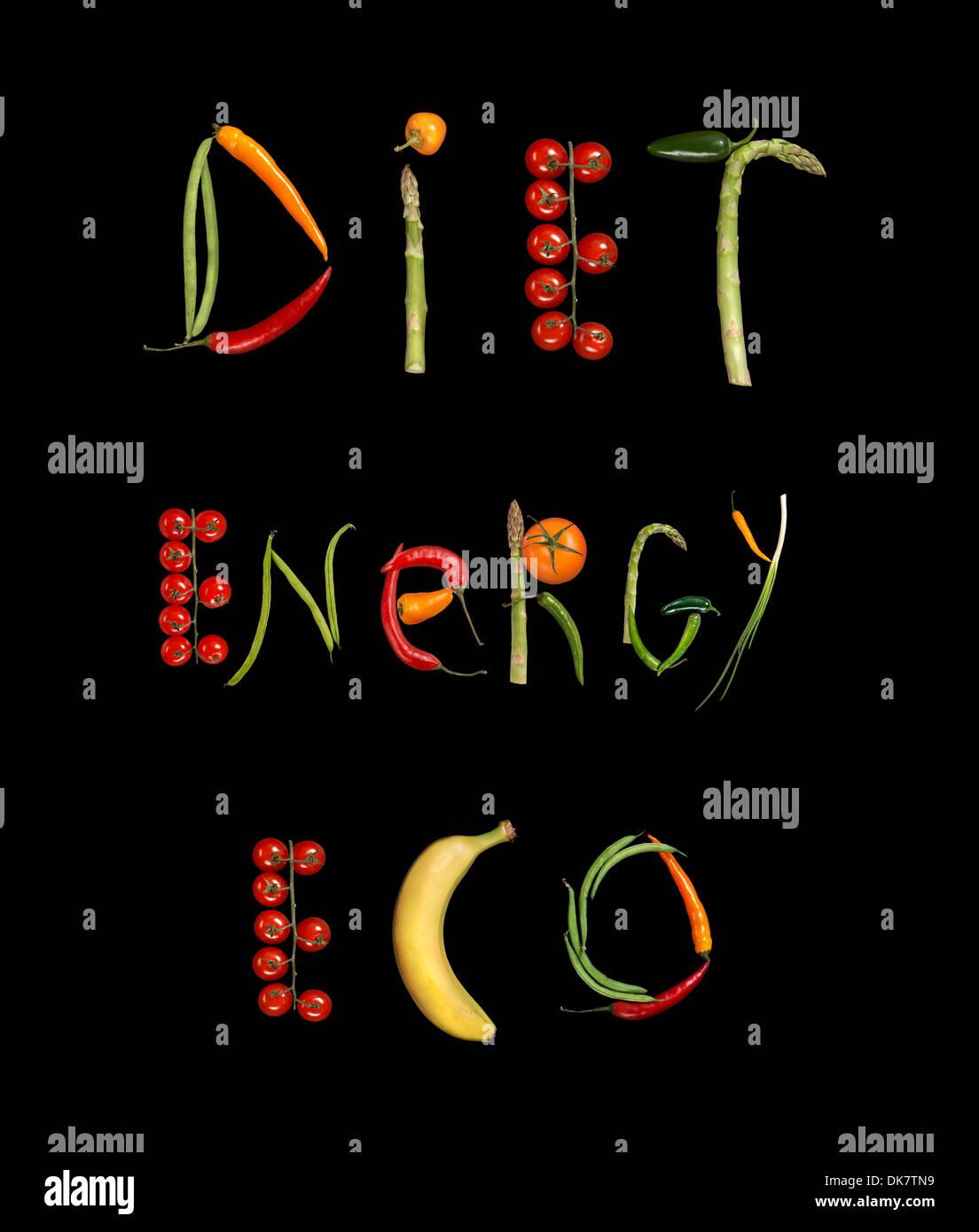 L'alimentation, l'énergie, l'Éco Photo Stock