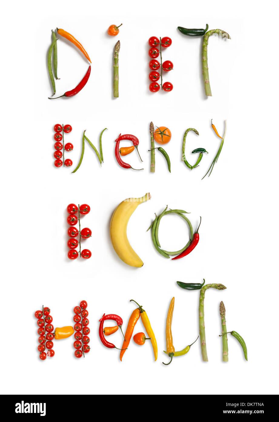 L'alimentation, l'énergie, Eco, santé Photo Stock